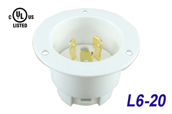 NEMA L6-20 Industrial Grade Flanged Inlets, 20 Amp, 2 Pole, 3 Wire