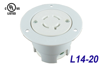 NEMA L14-20 Industrial Grade Flanged Outlets, 20 Amp, 3 Pole, 4 Wire